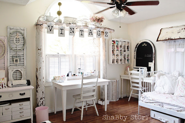 Dreamy white craftroom by Shabby Story via I Love That Junk