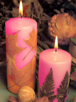 Декоративни свещи с декупаж от есенни листа