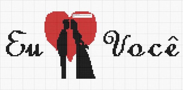 dia dos namorados - gráfico ponto cruz - Eu amo você