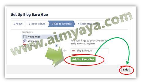 Gambar: Menambahkan fan page pada Favorites faceboook