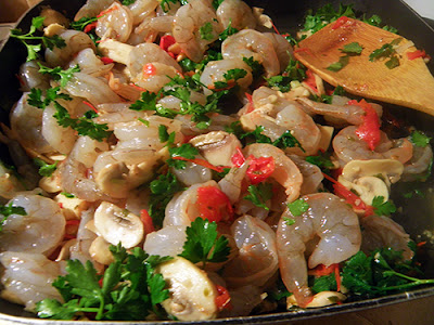 Adding Shrimp and Parsley to Veggies and Wine