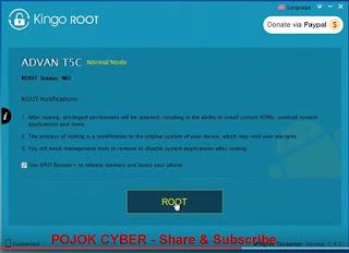 Klik Root pada Kingo Root setelah Advan Vandroid T5C Dikenali