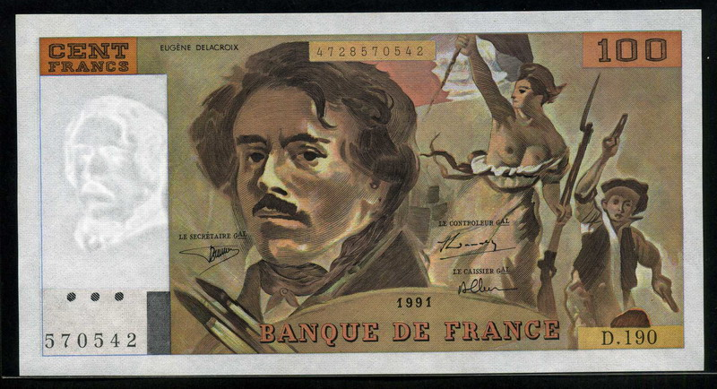 France currency 100 French Francs banknote 1991 Eugene Delacroix|World Banknotes & Coins ...
