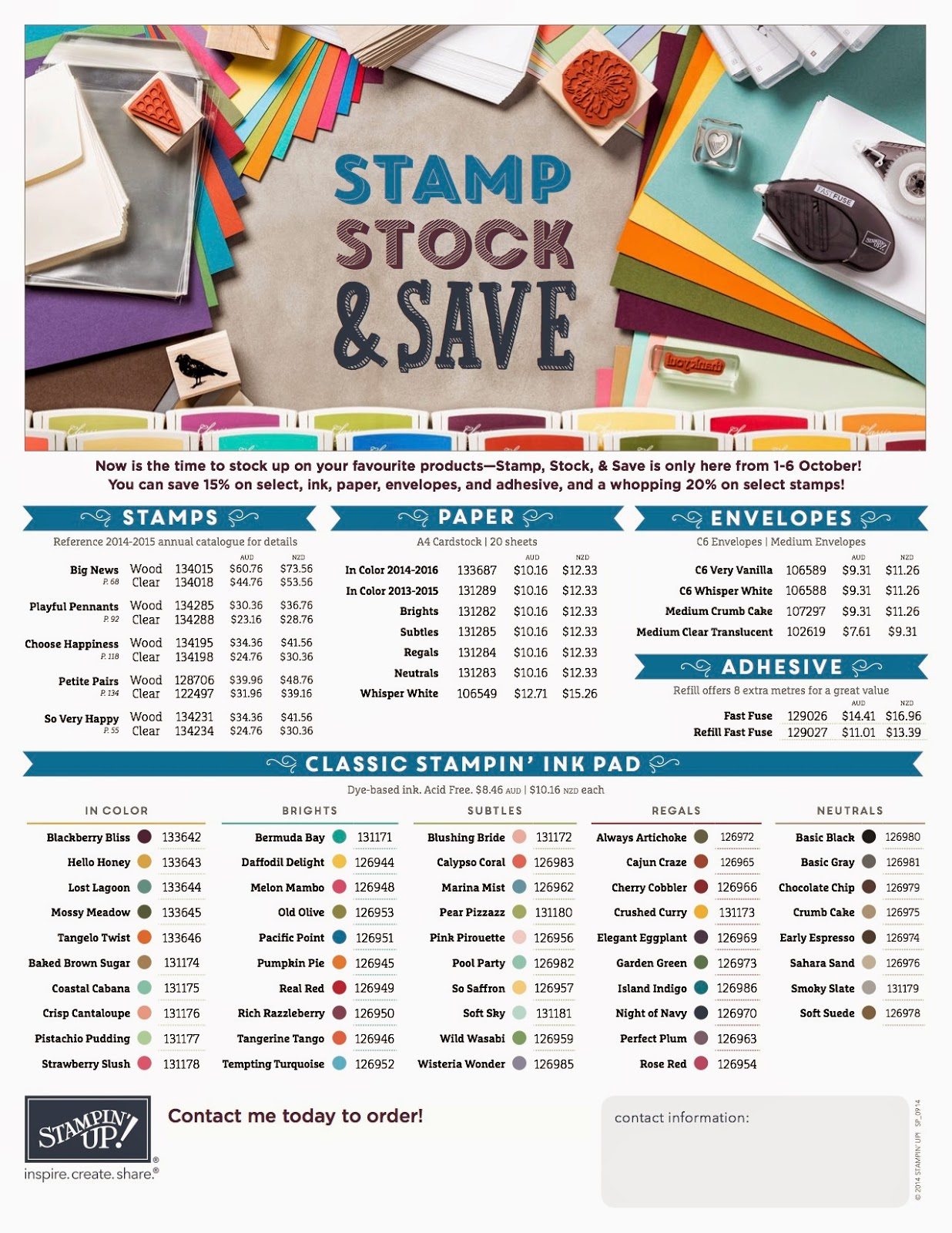 Stamp Stock and Save 2014