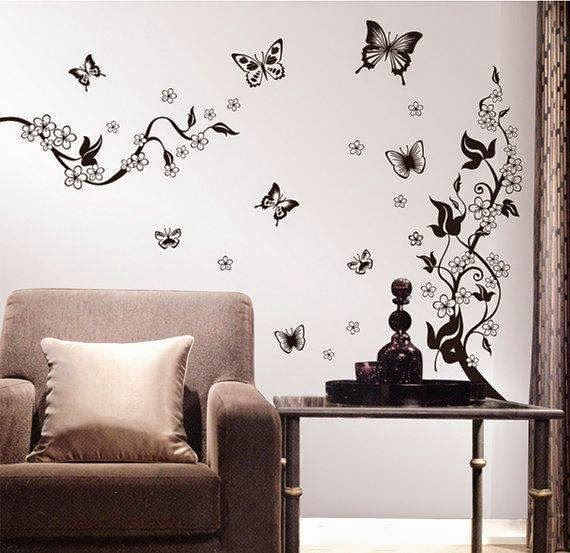 Awesome butterfly wall decoration butterfly themes for for Butterfly design on wall