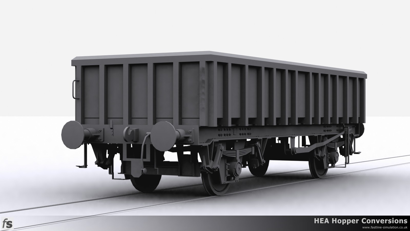 Fastline Simulation - HEA Conversions: A render of the completed shape for an MFA open box wagon. Originally converted from an HEA Hopper into an MEA mineral wagon these wagons were further converted with a reduced height body for infrastructure work.