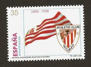Sello de España que se emitió con motivo del centenario del Athletic Club