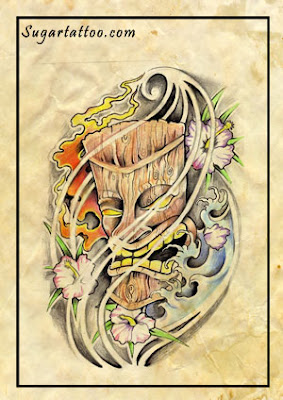 hawaiian tiki mask custom design
