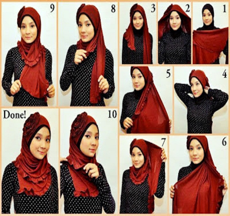 Tutorial dan gambar cara wanita memakai jilbab hijab modern gaul sifon silk