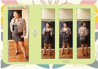 Fer Nakakogue usando vestido de couro e animal print