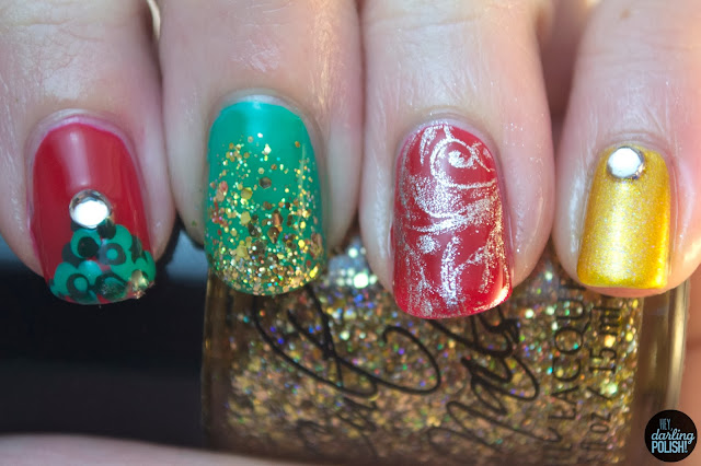 hey darling polish, nails, nail art, nail polish, red, green, gold, silver, christmas, christmas tree, rhinestones, glitter, glitter gradient, cult nails, stamping
