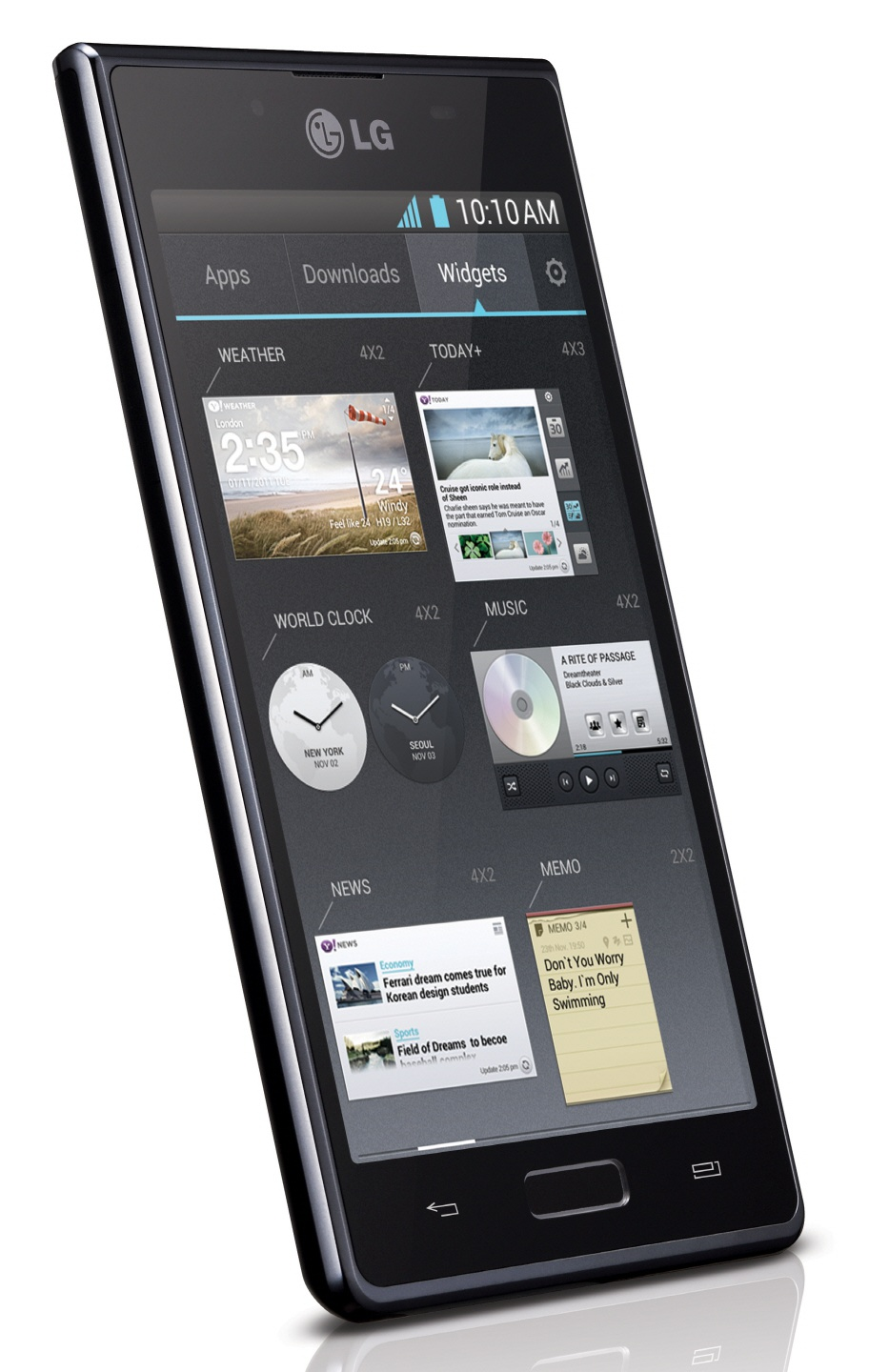 LG Optimus L7 P700 Imagen frontal y lateral