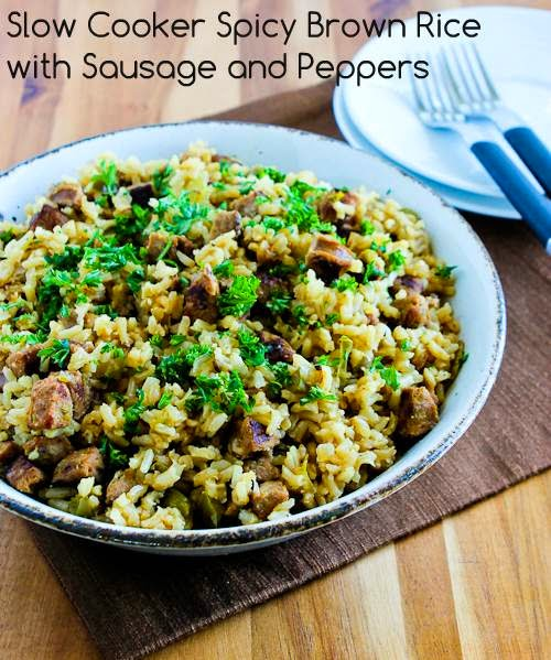 Slow Cooker Spicy Brown Rice with Sausage and Peppers from Kalyn's ...