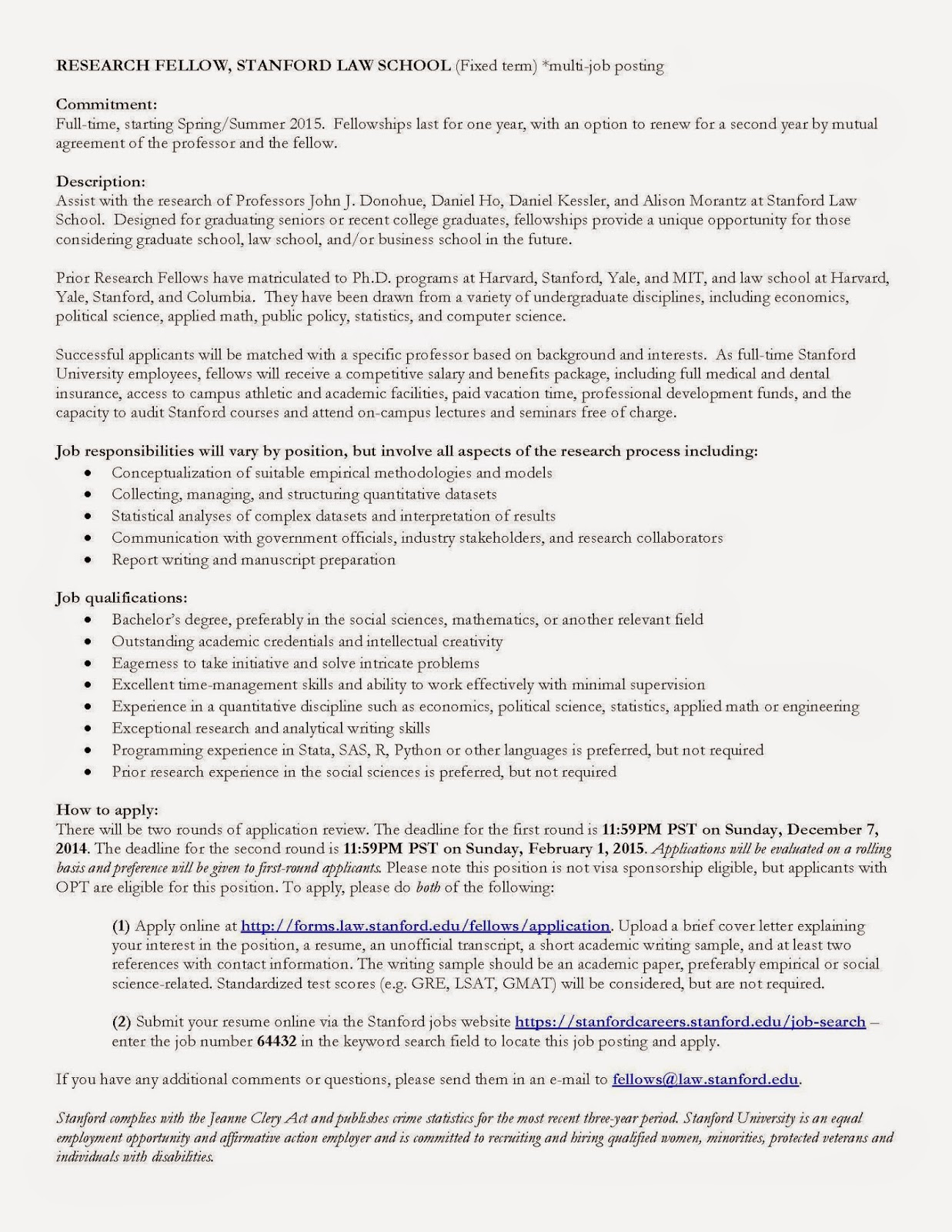 Full Time Research Fellows Position Stanford Law School