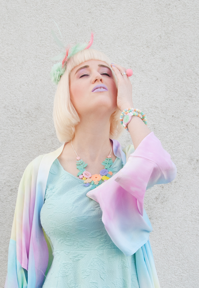 pastel look, rainbow kimono, mint dress