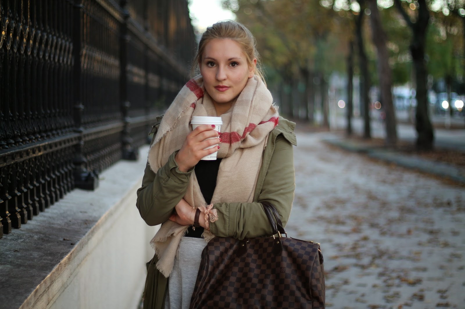 Fashionblogger Austria / Österreich / Deutsch / German / Kärnten / Carinthia / Klagenfurt / Köttmannsdorf / Spring Look / Classy / Edgy / Autumn / Autumn Style 2014 / Autumn Look / Fashionista Look / Olive Parka H&M / Zara Scarf Zara Schal Autumn Winter 2014 2015 / Louis Vuitton Damier Ebene Speedy 35 / Asos Monki Skirt Rock Grey Grau / Boots Chelsea Boots Primark Schwarz Black / Daniel Wellington Watch /
