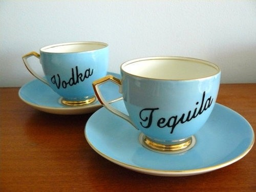 Alcoholic Tea Cups, Tequila, Vodka