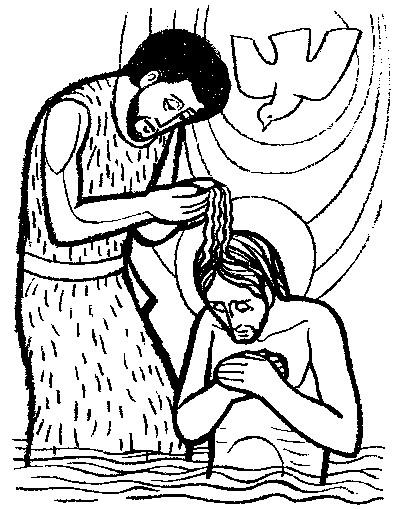 Bautismo de Jesús para colorear ~ Dibujos Cristianos Para Colorear
