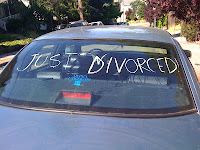 "Car with ""just divorced"" written on it."