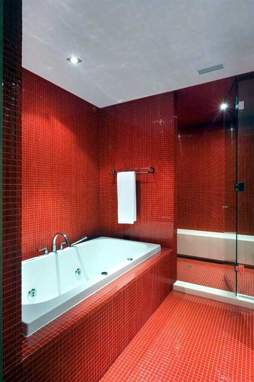Designing home red makes the heart sing - Red bathroom pictures ...