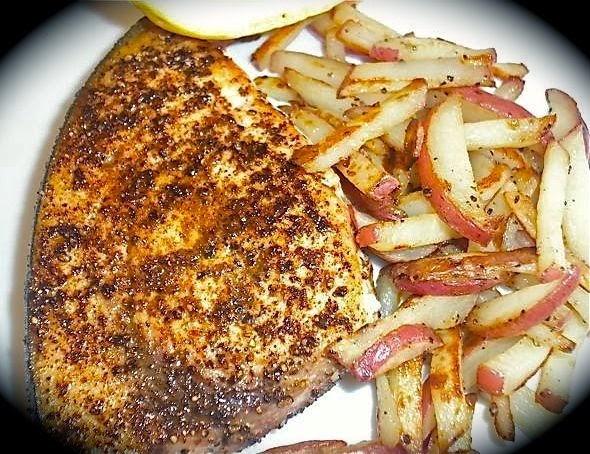 "Blackened Swordfish with Red Potato ""Hash Browns"""
