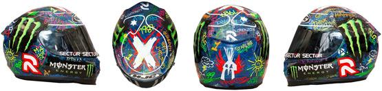 capacete do piloto espanhol Jorge Lorenzo desenhos e tipografias realizadas por Anna VIves