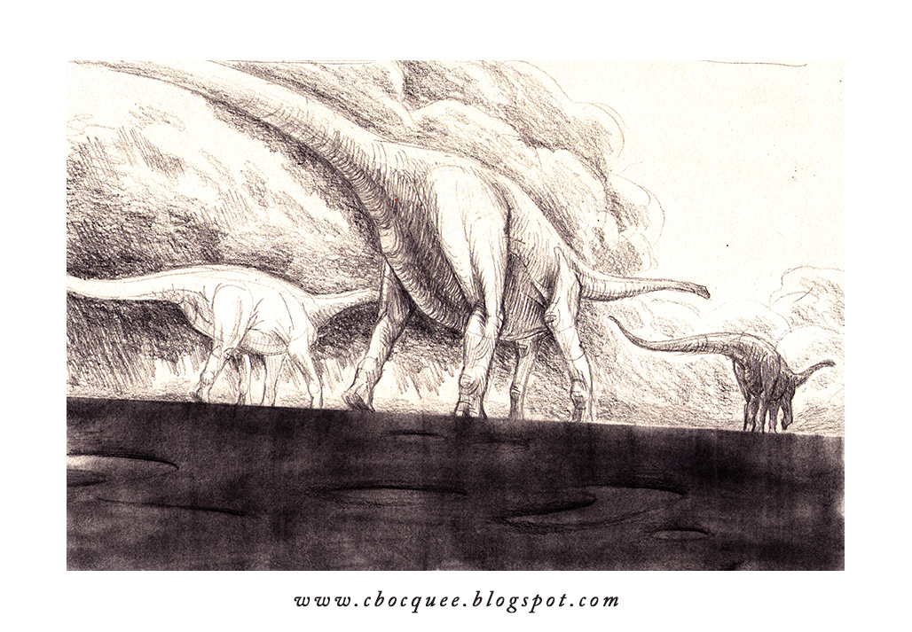 black & white illustration of sauropod dinosaurs