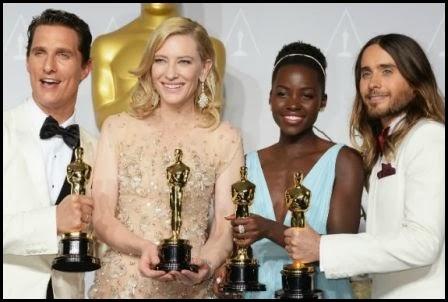 Matthew McConaughey, Cate Blanchett, Jared Leto y Lupita Nyong'o con sus Oscar, 2014