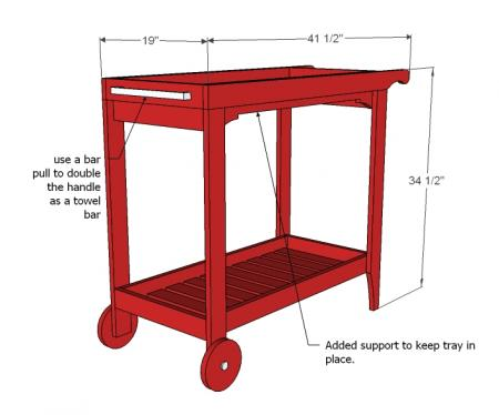 Woodshop Project Plans: Rolling Bar Cart with Removable Tray