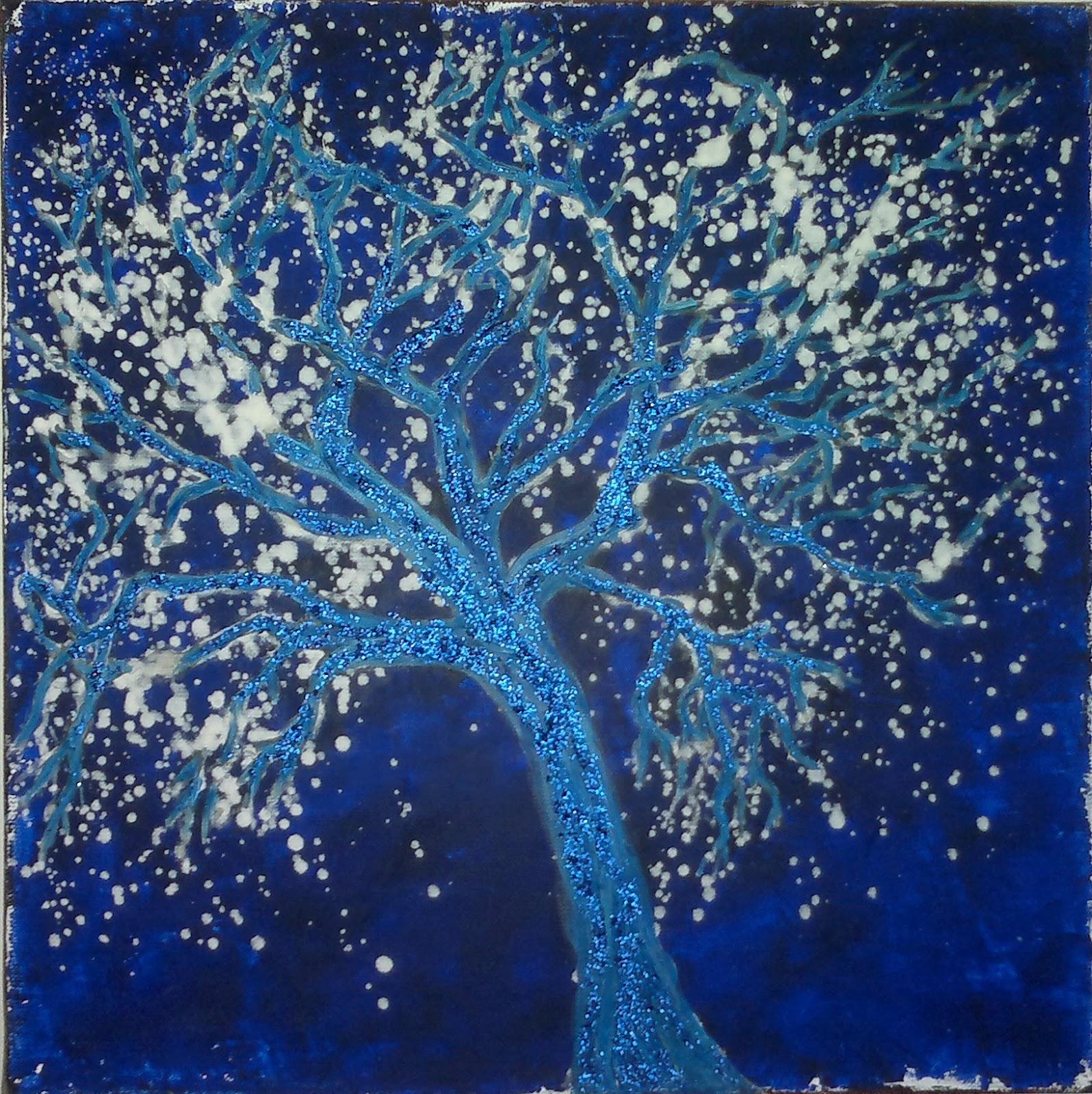 carmilla peinture arbre bleu dans la neige. Black Bedroom Furniture Sets. Home Design Ideas