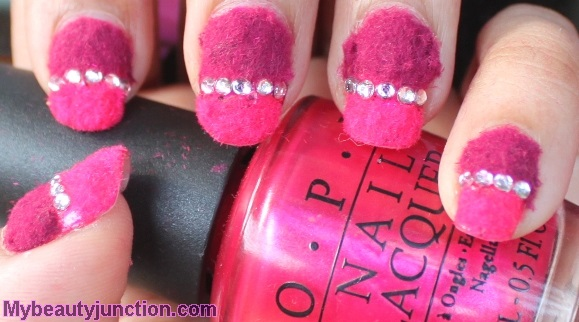 Hot pink flocking powder ombre manicure with O.P.I. It's All Greek To Me nail polish