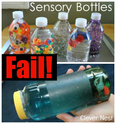 Leaky hairy Sensory bottle craft fail -clever nest