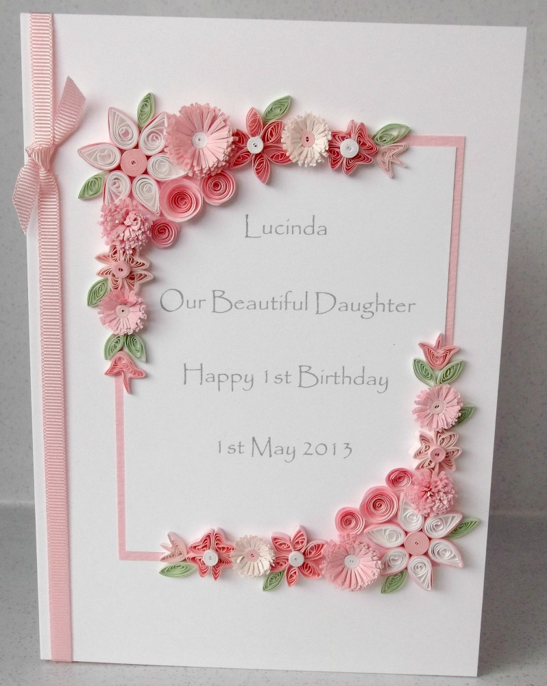 Paper Daisy Cards Quilled 1st birthday card