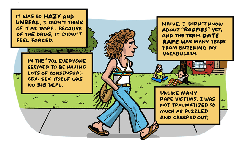 The phone rang. It was my college rapist by Jen Sorensen.