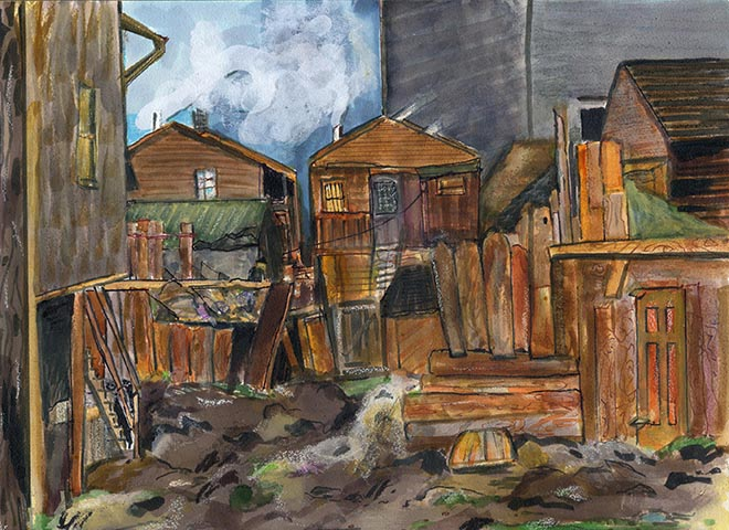 Slum alley and sheds