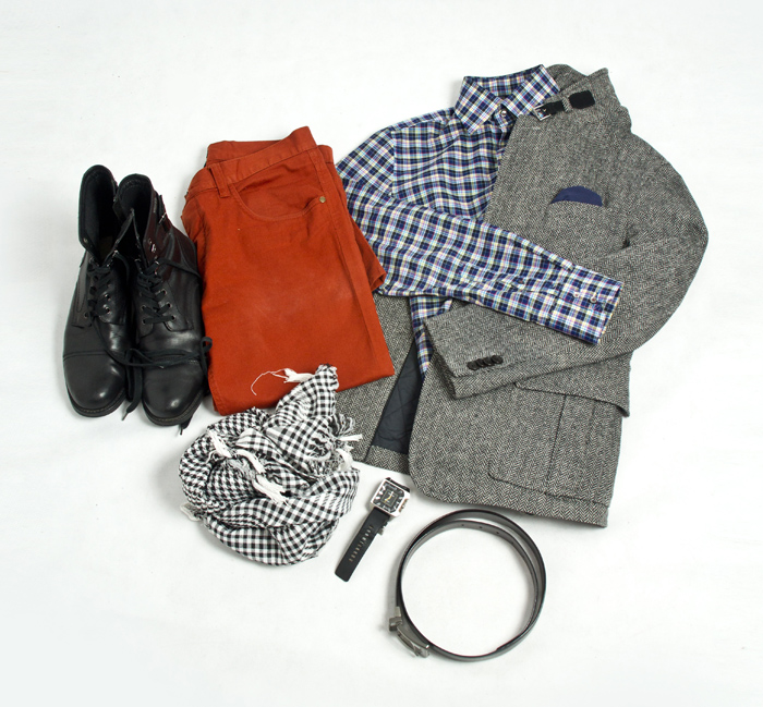 jacket - pierre cardin, pants - hm, kufiya, boots - kazar, shirt - pierre cardin, tweed blazer, diesel watch