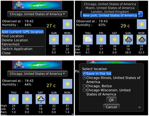 Weather Trax le permite saber el tiempo detallado de su ciudad o de cualquier ciudad, esto le irá bien si desea realizar un viaje, el pronóstico es también a 5 días vista. Ahora usted puede saber en qué dirección sopla el viento en cualquier parte del mundo. Ahora, con BBM ™ Integración, envía tu pronóstico del tiempo a sus contactos BBM ™ con el nuevo BBM ™ Integración (requiere BBM ™ 6.0) Una de las caracteríticas de esta aplicación es que es fácil de configurar, haga clic en agregar una ciudad o lugar, se almacena en el dispositivo BlackBerry has