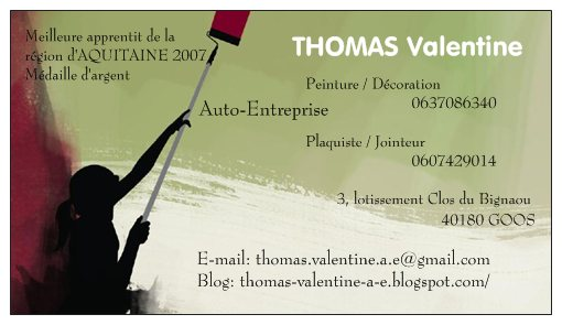 thomas valentine auto entreprise carte de visite. Black Bedroom Furniture Sets. Home Design Ideas