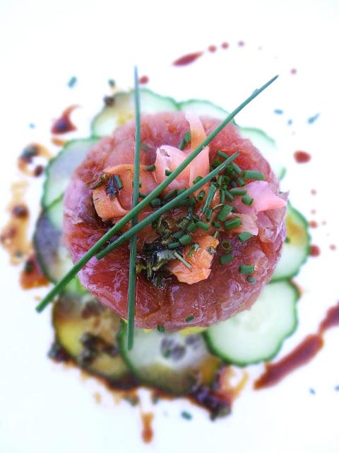Scrumpdillyicious: Ahi Tuna Tartare with Avocado, Ginger & Cucumber