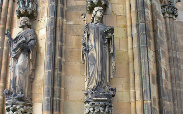 Saint Werburgh statue on Lichfield Cathedral