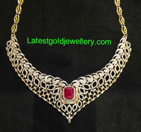 latest diamond necklace designs 2014