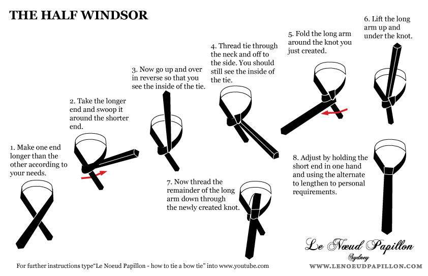 Le noeud papillon of sydney for lovers of bow ties instructions instructions on how to tie a windsor four in hand shell and half windsor knot tie ccuart Images