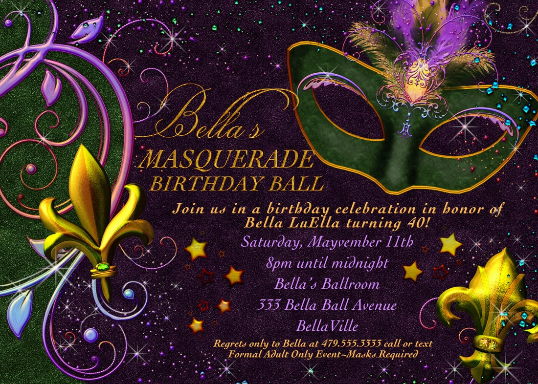 Gratifying image for free printable mardi gras invitations