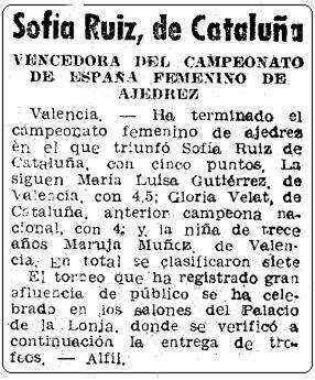 II Campeonato Femenino Individual de España, recorte de Mundo Deportivo del 5 de agosto de 1951