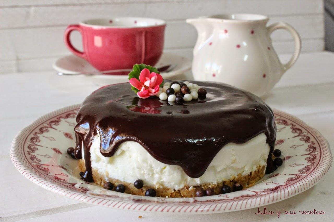 Julia y sus recetas tarta mousse de yogur griego - Como hacer mousse de yogurt ...