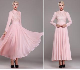 Model Dress Panjang Wanita Pink