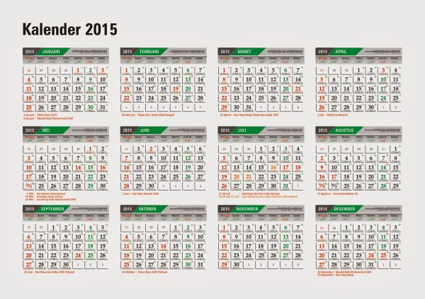 Download Kalender 2015 Indonesia Lengkap CorelDraw Bisa Diedit