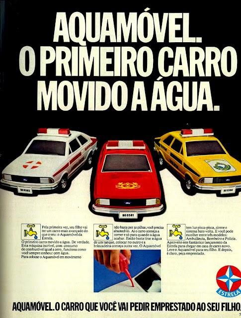 Propaganda do Aquamóvel: brinquedo da Estrela com um pequeno carro movido a água.