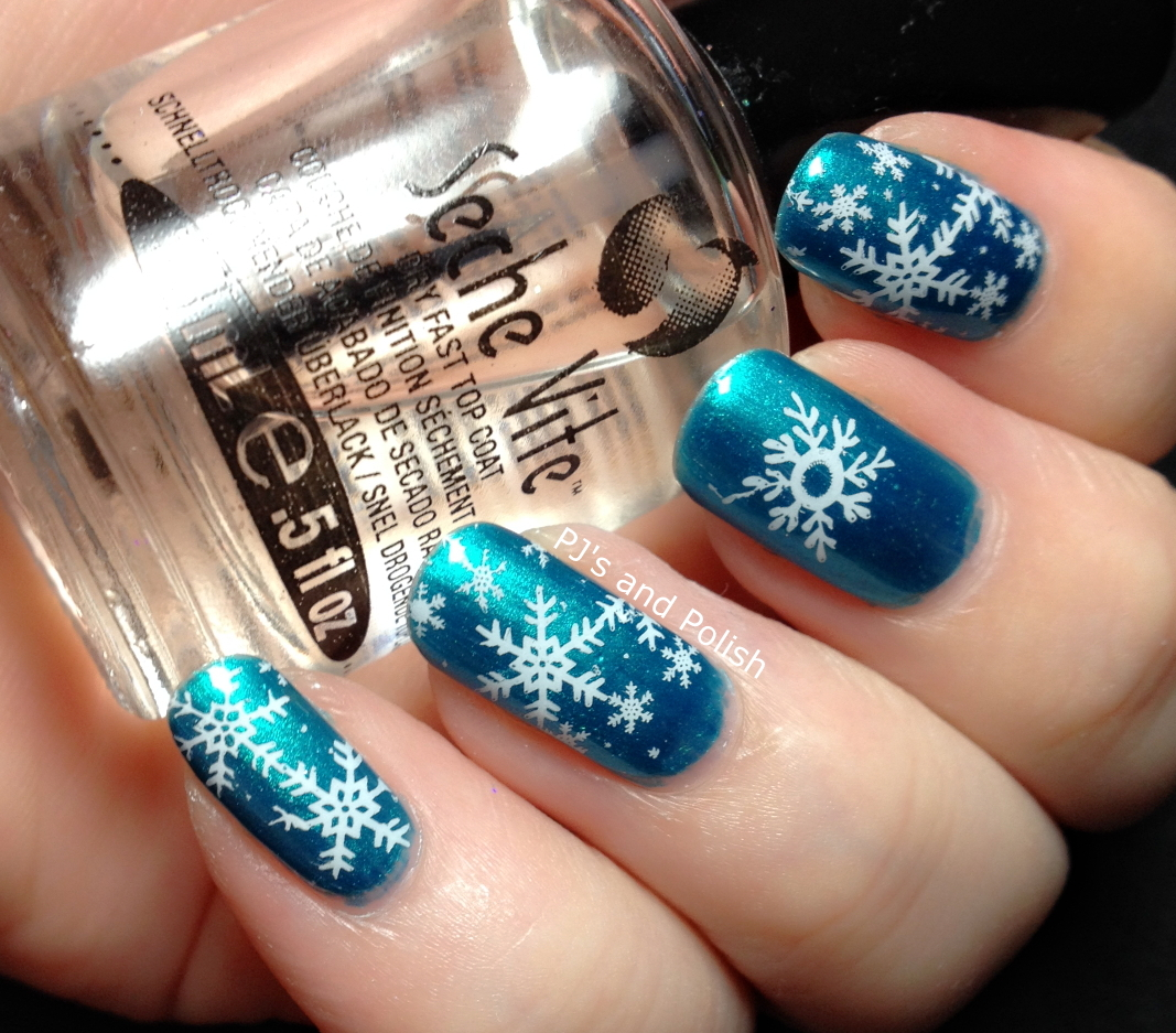 HPB Presents Winter Nail Art Nicole by OPI Poised in Turquoise Stamping Born Pretty Store BP-01 Mundo de Unas White Seche Vite NYC Matte Me Crazy