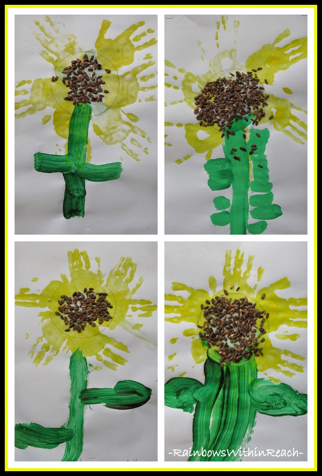 Spring Flower with Painted Hand  Prints via RainbowsWithinReach RoundUP